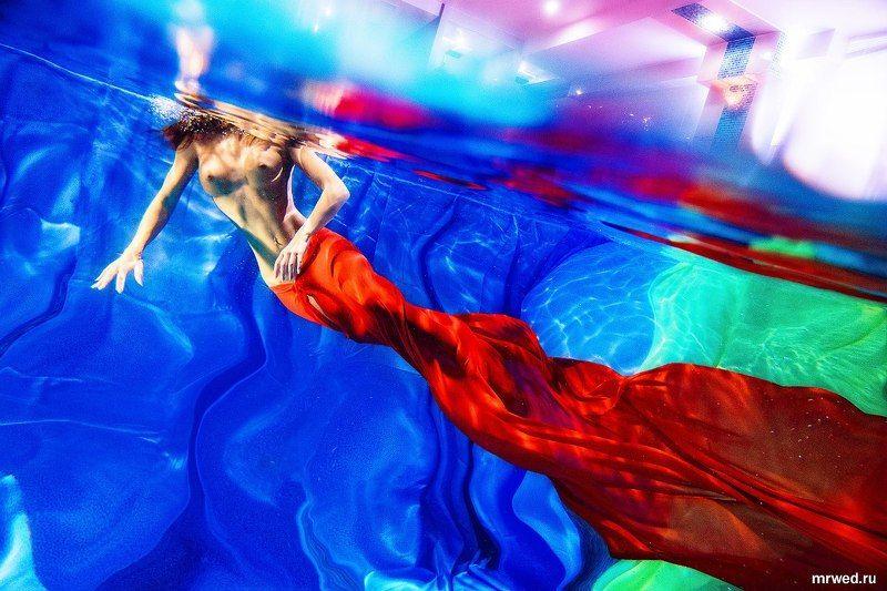 ню, подводой, русалка, хвост, Михаил Решетников современная русалочкаphoto preview