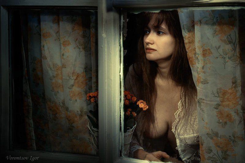 девушка, окно, грудь, обнажённая, ню, цветок Скрип калиткиphoto preview