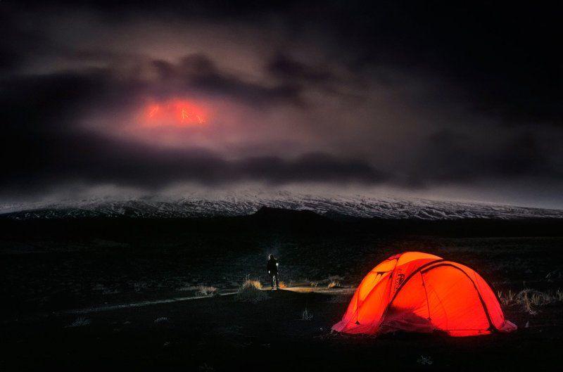 камчатка, ключевской, вулкан, извердение, ночь Ночь на вулканеphoto preview