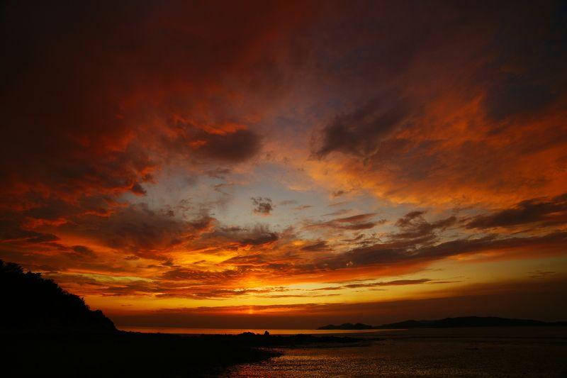 asia,korea,south korea,sea,seascape,sunset,sky,cloud,island,silhouette, Sunsetphoto preview