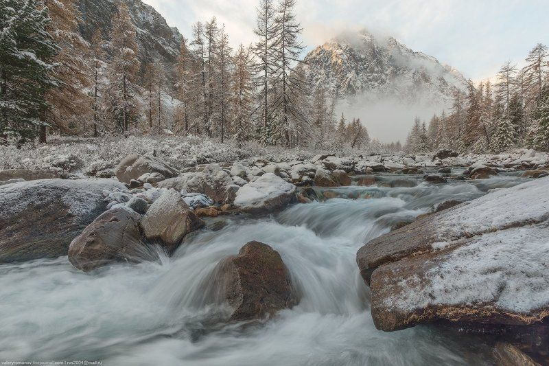 актру, снег, долина, алтай, река, солнце, утро, горы, осень, скалы, камни, белый, рыжий, ручей, течение Рассвет в долине Актруphoto preview