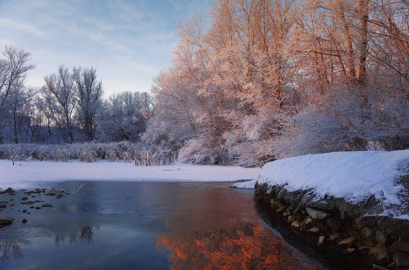 зима,снег,лед,озеро,рассвет,деревья Художник-Солнце рисует зимуphoto preview