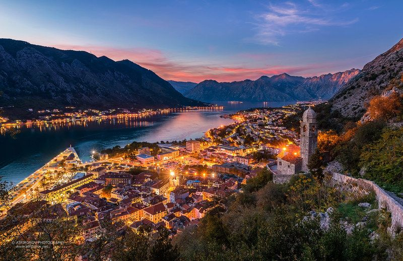 Kotor, Montenegro, Kotor bay, town, adriatic sea, lights, night, sunset, church, fortress, ancient, mountain Которphoto preview