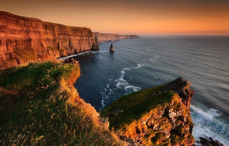 cliffs of moher, ireland, county, clare, landscape, seascape, waterscape, ocean, atlantic, cliffs, sunset, fineart, nikon, travel, adventure, The Light Of Freedomphoto preview