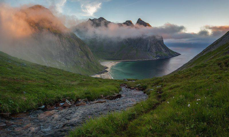 норвегия, море, путешествие, norway, lofoten, Закат над Kvalvika beach.photo preview