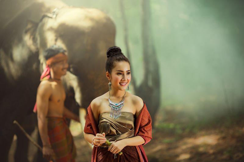 people,portrait,woman,man,elephant, Laos womanphoto preview