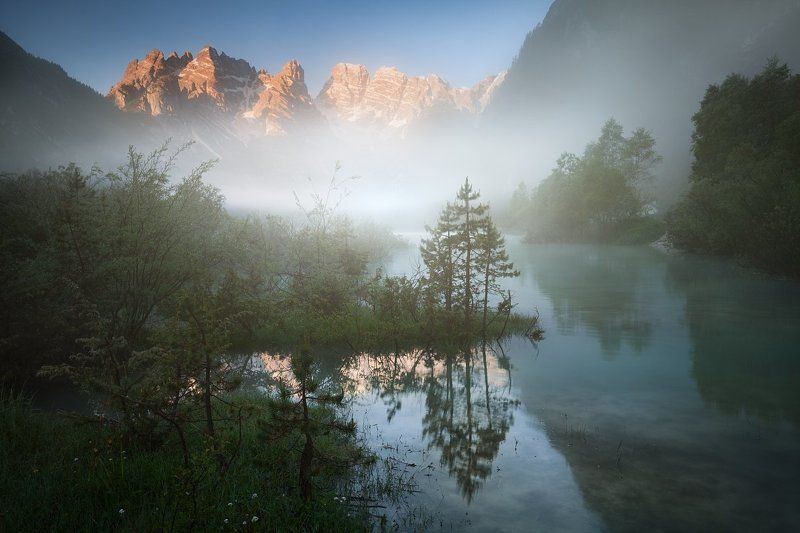 alpen, alps, dolomiten, dolomites, dolomiti, italia, italien, italy, south tyrol, alto adige, sexten, sesto, lago di landro, landro, lago, water, lake, tyrol, trentino, europe, travel, summer,  lago, summer landscape, daniel rericha, mysterious lake, morn Mystical morning on the lakephoto preview