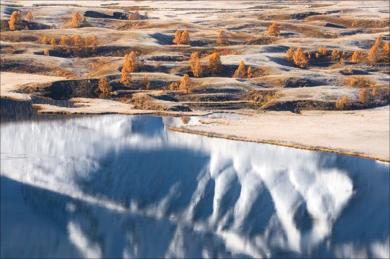 алтай, ештыкель, озеро, джангысколь, осень, северо-чуйский хребет, отражение, Параллельные миры ..photo preview