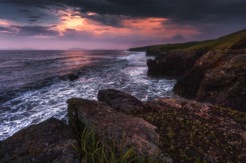 море, вечер, волны, скалы ***photo preview
