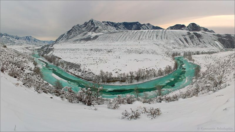 чуя, алтай, зима, восход Чуи бирюзаphoto preview