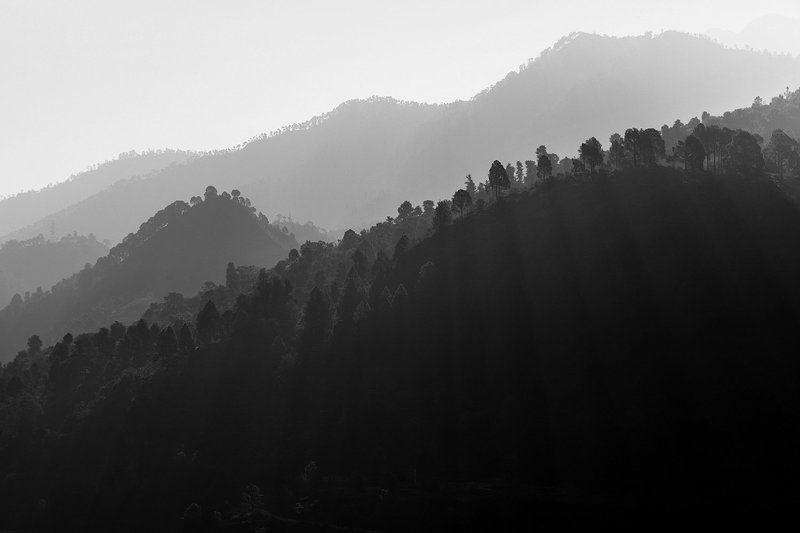 природа, путешествие, рассвет, горы, свет, черно-белое, пейзаж, nature, dawn, india, himalayas, гималаи, индия Индийские Гималаи на рассветеphoto preview