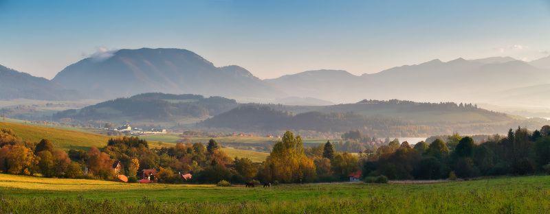 Горы, Европа, Октябрь, Осень, Словакия, Татры, Утро Солнечное утро октября. Словакияphoto preview