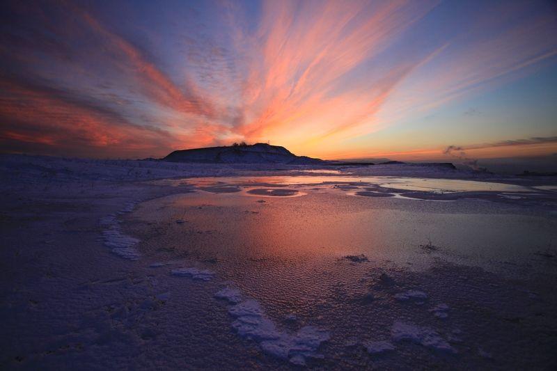 закат, облака, краски, красный, озеро, лед, зима,  Краски закатаphoto preview