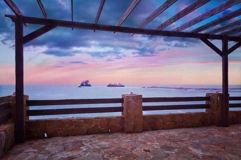 крым, море ,скалы , небо, беседка, закат Опять про море.photo preview