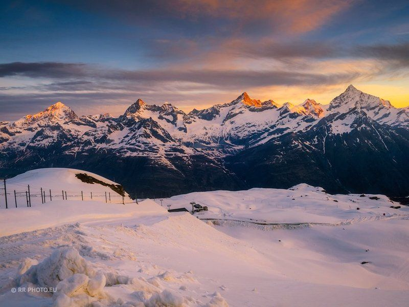 alps, switzerland, mountains, winter, snow, landscape, zermatt, sunrise,  Alpine sunrisephoto preview