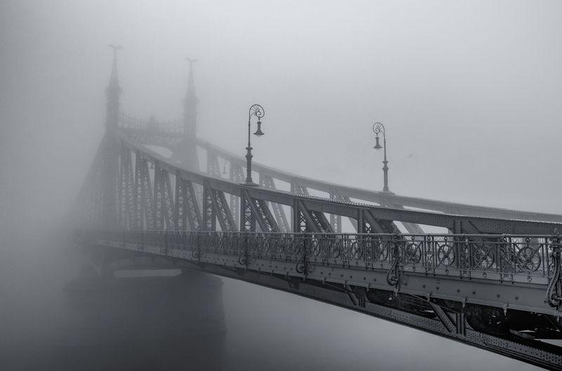 будапешт мост туман река город пейзаж венгрия европа путешествие архитектура черно-белый b&w photo preview