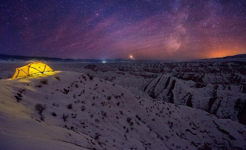 каньон, жабыр, чарын, ночь, ночное небо, палатка Холодная зимняя ночьphoto preview