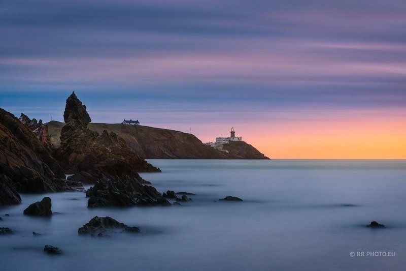ireland, sunrise, landscape, lighthouse, rocks, howth, coast, long exposure,  Howth Head, Baily Lighthousephoto preview