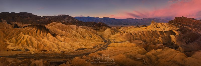 panoramic. landscape, travel, desert, photography, mountain, usa, dawn, national park, horizontal, california, outdoors, shadow, color, image, no people, death valley national park, zabriskie point, famous place, travel destinations, scenics, beauty in na Подробно о Забрискиphoto preview