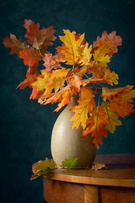 Натюрморт, букет, ярко-желтый, красный, осенний, листья, коричневый, ваза, интерьер Краски осениphoto preview
