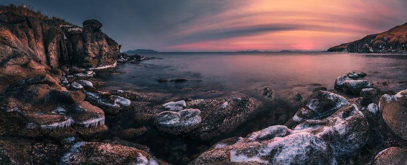 панорама. море, скалы, зима, лёд ***photo preview