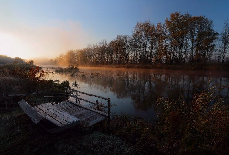 река, туман, утро, осеннь Мне приглянулось место на реке.photo preview