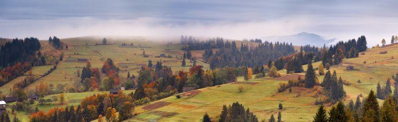 Карпаты, Октябрь, Осень, Украина, Утро, Горы Пасмурно-осенняя панорамаphoto preview