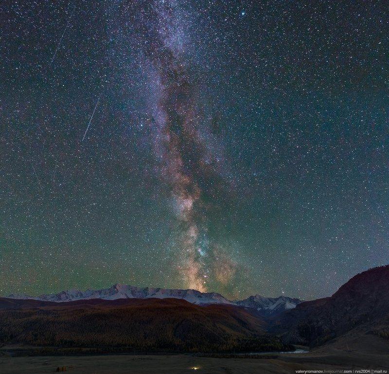 Млечный путь, река, Чуя, Алтай, осень, звезды, небо, горы, снег, синий, лес, река Ночь в горах Алтаяphoto preview