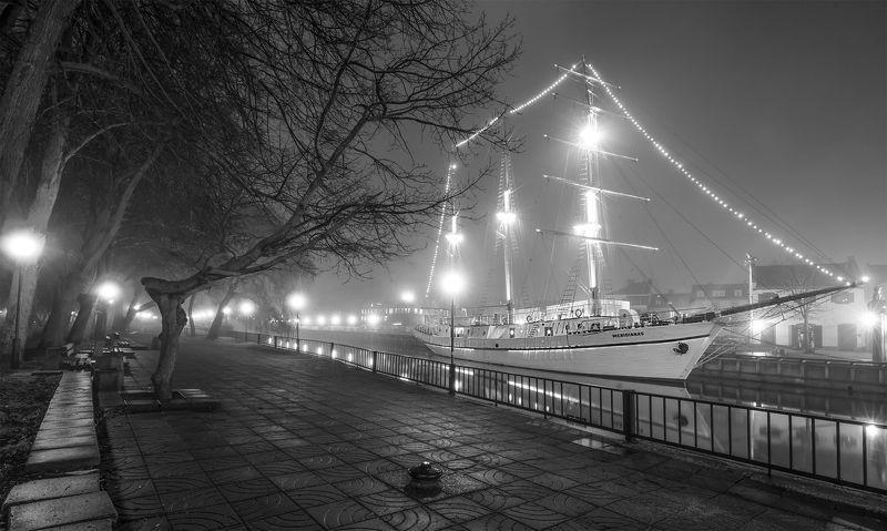 sailboat,klaipėda ,fog The  silence of the nightphoto preview