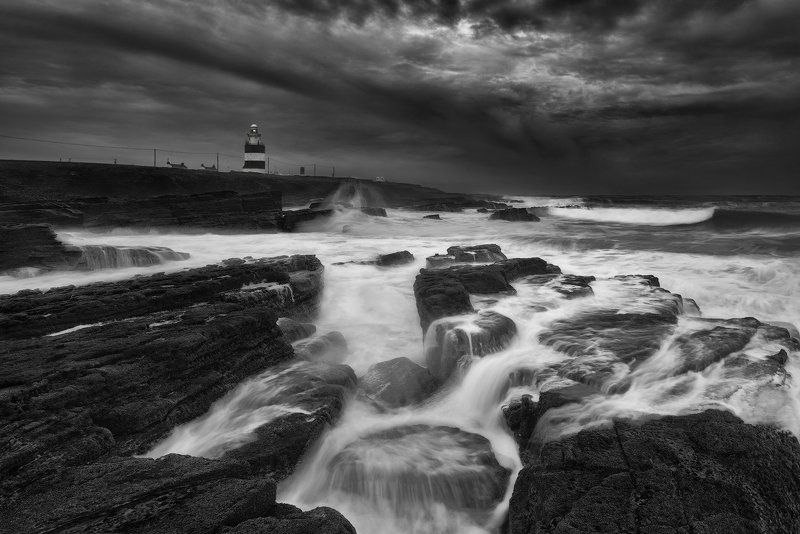 ireland, wexford, hook head, peninsula, landscape, monochrome, mono, bw, black and white, waterscape, seascape, ocean, lighthouse, coastline, nikon, adventure, storm, travel, Unbreakable Elementphoto preview