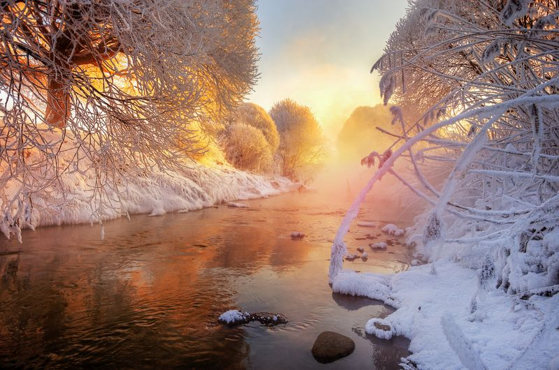 санкт-петербург рассвет на зимнем ручье...photo preview