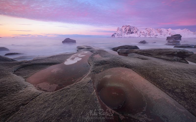 arctic avocado, winter sunset, uttakleiv beach, uttakleiv eye, lofoten, norway. Arctic Avocadophoto preview