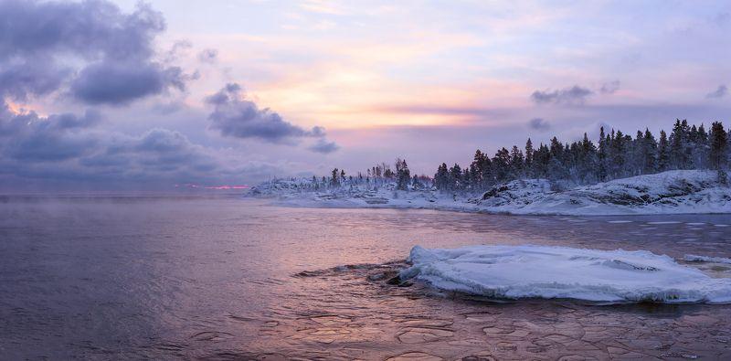 Ладога, Ладожское озеро, шхеры, лед, мороз, заря \