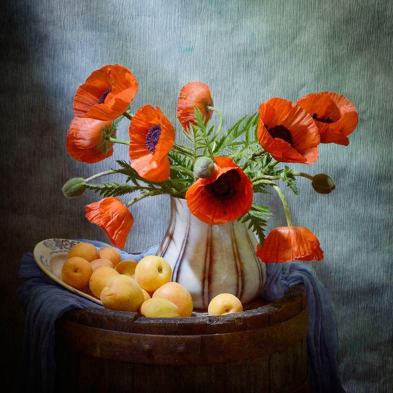 Цветочный, натюрморт, букет, красный, маки, ваза, абрикос, ржавый, бочка, голубой, драпировка, летний, домашний  Маки и абрикосыphoto preview