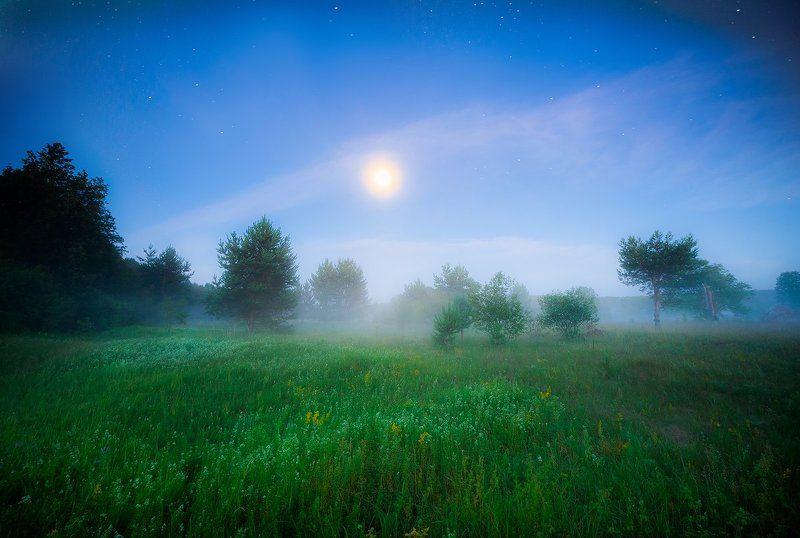 лето, ночь, пейзаж, друть, беларусь Лунный фонарьphoto preview