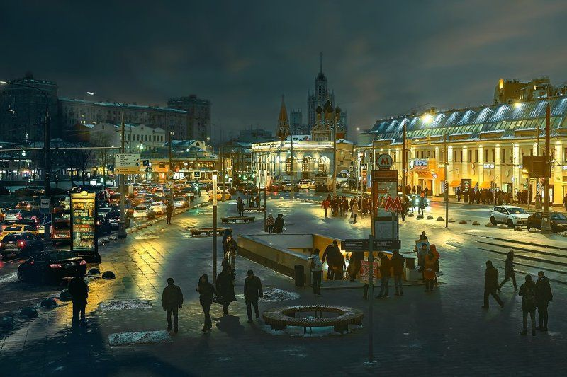 город, Москва, ночь, огни, площадь Таганка...photo preview