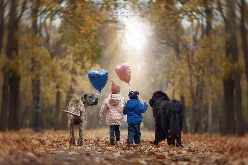 дог, ньюфандленд, собаки, дети, сказки Go to where fairy tales live ...photo preview