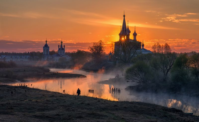 Дунилово Ивановская область Россия пейзаж рассвет туман церковь церквушки путешествия На рыбалкуphoto preview
