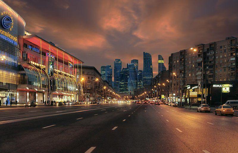 Москва, город, ночь, огни, архитектура, сити Архитектурные контрастыphoto preview