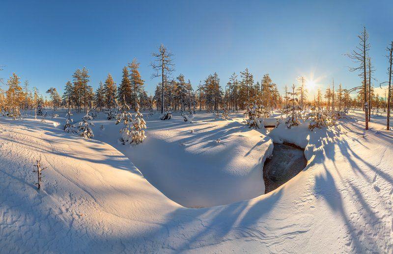 болото, ручей, Ленинградская область, река Сестра Болотный ручей зимойphoto preview
