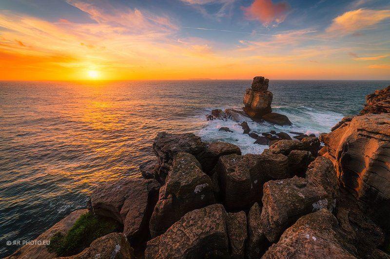portugal, landscape, sunset, sky, cape carvoeiro, rocks, sea,orange, Cape Carvoeirophoto preview