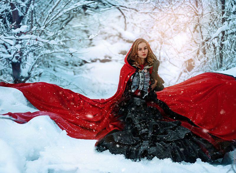Девушка в красном., Зима мороз 3-е. января: выход в Красное.)photo preview