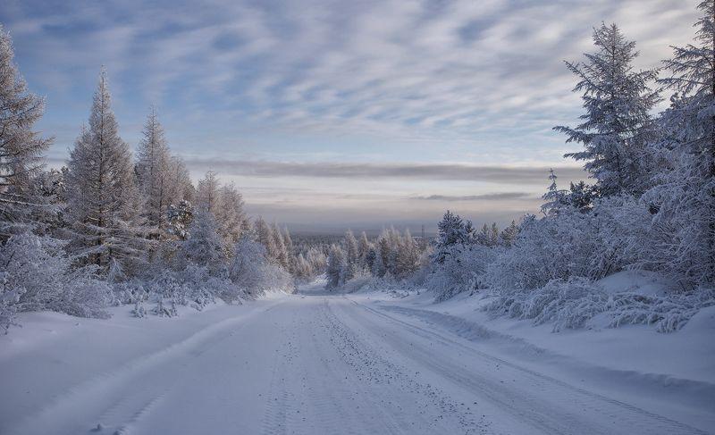 зима, декабрь, якутия, нерюнгри Зимняя дорогаphoto preview
