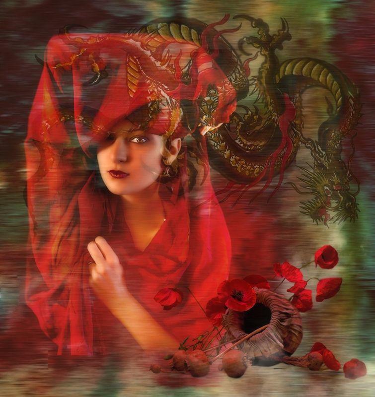 девушка в красном,маки,дракон Temptationphoto preview