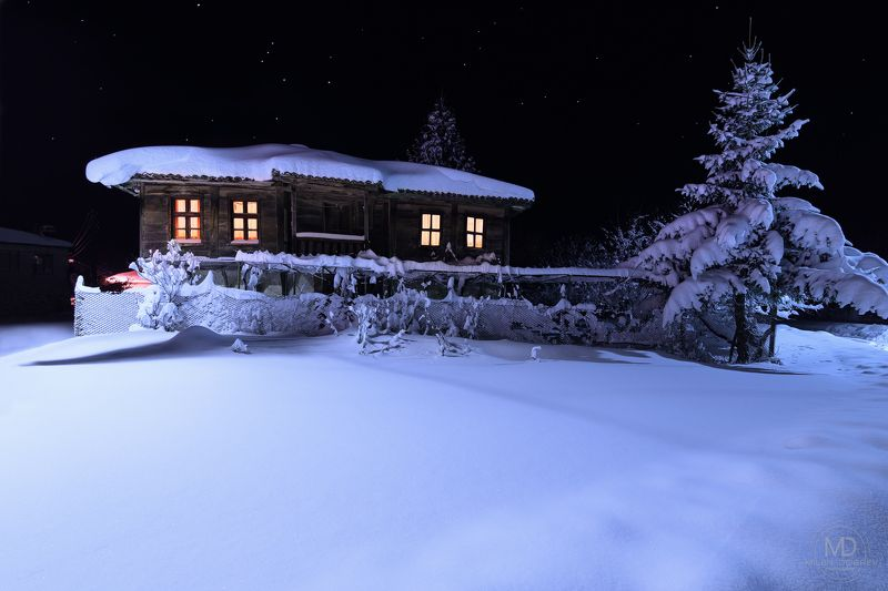 Bulgaria, Strandzha mountain, Snow, night, winter, home, village photo preview