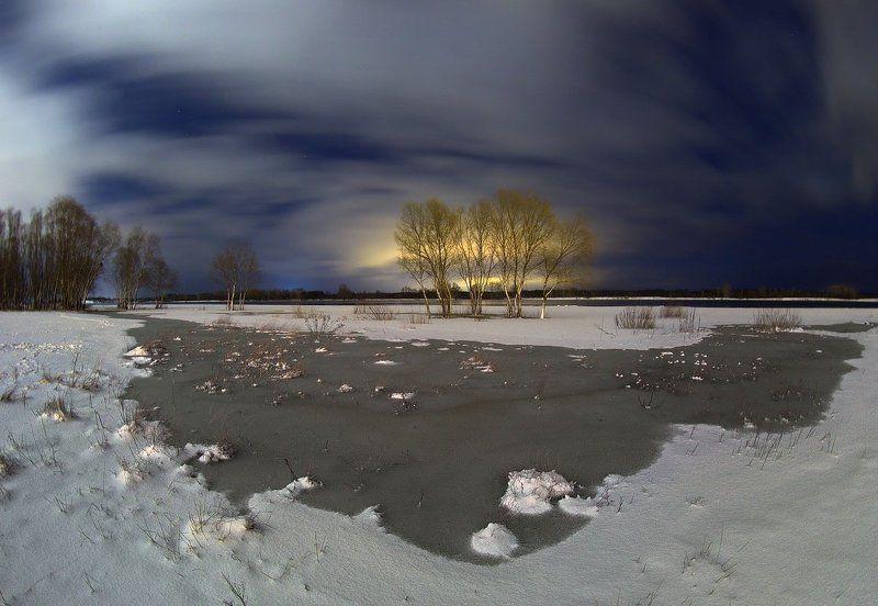 winter, long exposure, snow, river, ice, night phono, fishaye, зимняя ночь, длинная выдержка, рыбий глаз, снег, зима Зимней ночи акварельphoto preview