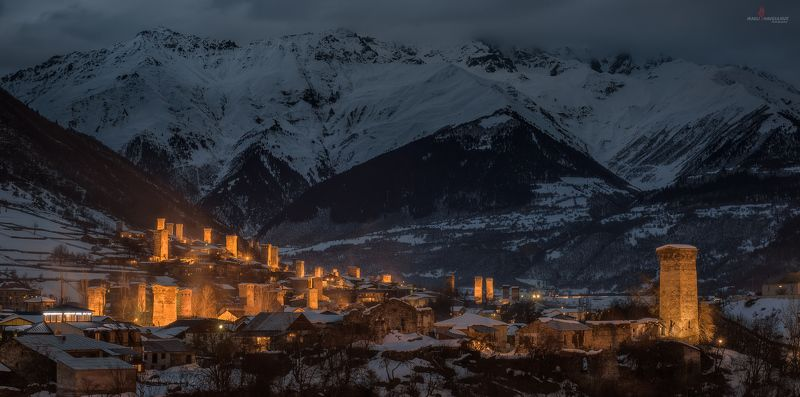 сванетия, грузия, зима, пейзаж, ночь, крепость, башня, праздник, лампроба Зимняя ночь в Сванетииphoto preview