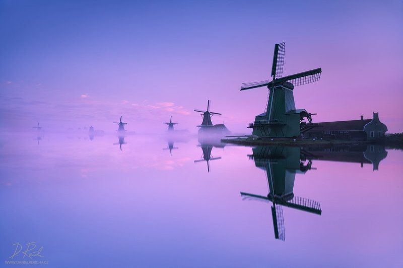 Netherlands, Nederland, Niederlande, Holland, North Holland, Holanda, Amsterdam, Zaanse Schans, Zaandijk, Zaanse, Zaandam, Zaanstad, Schans, Zaan, Zaanse, Europe, windmill, windmühle, windmühlen, windmills, mill, reflection, reflection, blue, blue sky, sk Magical morning at windmillsphoto preview