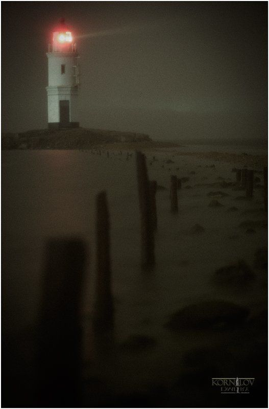 маяк, токаревский, море, ночь, туман, северные, земли, дмитрий, корнилов ###photo preview