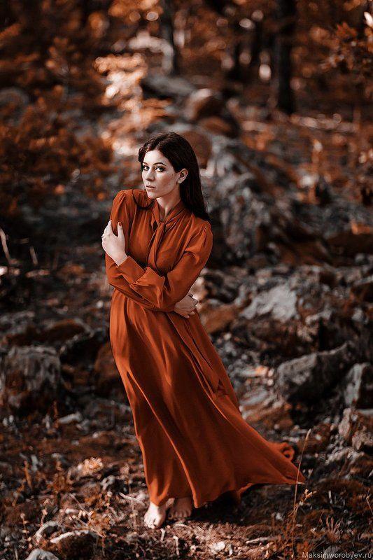 portrait,портрет,девушка,рыжый,лес,взгляд,платье Юляphoto preview